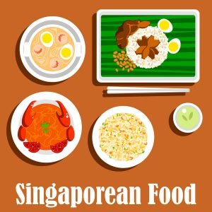 Singaporean dinner icon with flat symbols of fried rice nasi goreng, chilli crab, spicy noodle soup laksa with prawns, chicken rice with hard boiled eggs and chicken liver, served on banana leaf with chopsticks and cup of green tea