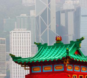 Hong Kong Old Pagoda And New Skyscrapers