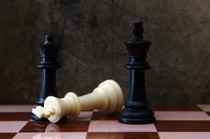 Chess against grunge background
