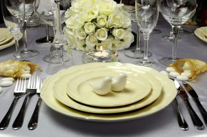 Close Up Of Detail On Wedding Breakfast Dining Table Setting Wit