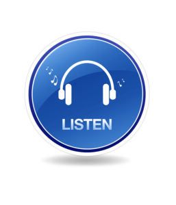 High resolution graphic of an listen icon with head phones and notes.
